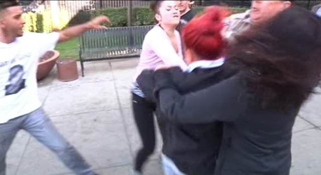 [BAY] Raw Video: Supporters of Murder Suspect Fight With Victims Family Outside Court