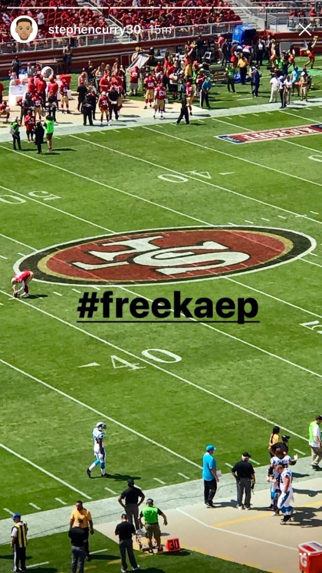Steph Curry Posts #freekaep on Instagram at 49ers' Season Opener