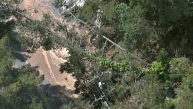 Small Mudslide Pushes Trees Into Power Lines in Piedmont