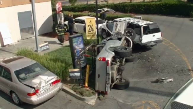 Pickup Truck Crashes Into McDonald's Drive-Thru