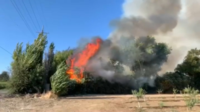Brush Fire Damages Structures in Byron