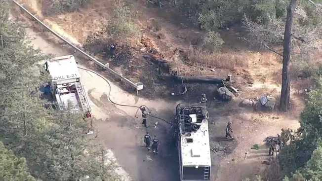 RV Fire Spreads to Nearby Brush in Oakland: Firefighters