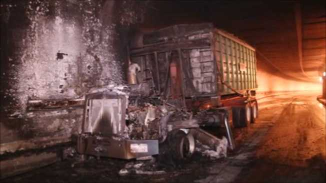 Big Rig Engine Bursts Into Flames in Caldecott Tunnel