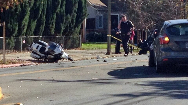 San Jose Police Motorcycle Struck By Car