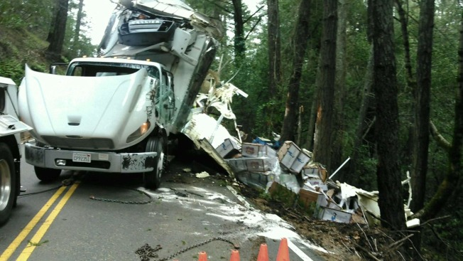 Vegetables Strewn Across North Bay Road After Truck Crash