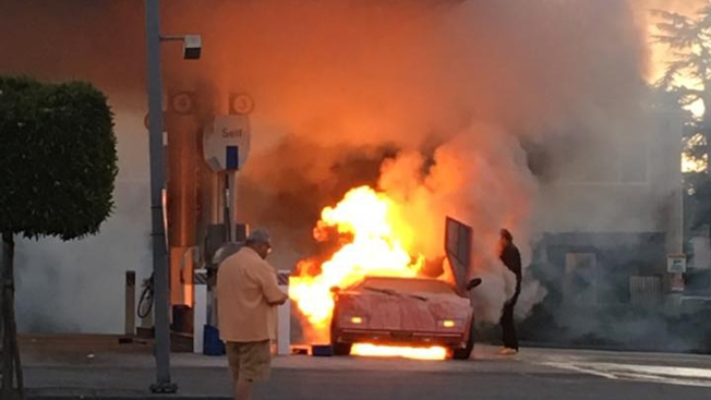 Lamborghini Erupts Into Flames, Damaging Chevron Gas Station in Redwood City