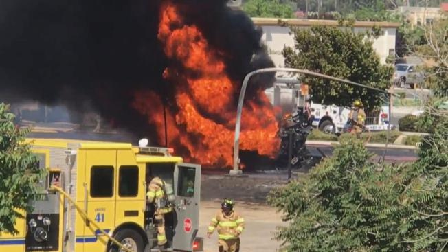 Driver dies in massive tanker fire in Central Valley
