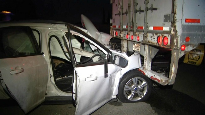 Driver Injured After Sedan Slams Into Semi-Truck in San Jose