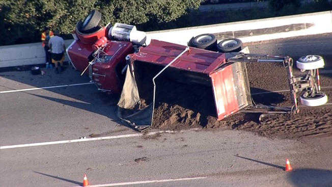Dump Truck Overturns on I-680 in Fremont