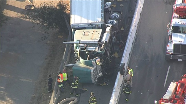 Lanes of EB Interstate 80 Blocked in Berkeley Due to Overturned Big-Rig