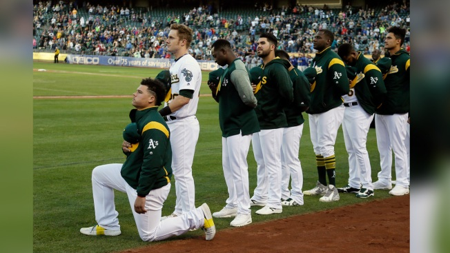 Athletics' Bruce Maxwell first Major League Baseball  player to kneel during national anthem