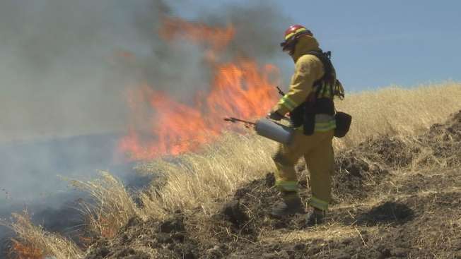 Firefighters Practice for Summer on a Hillside in Antioch