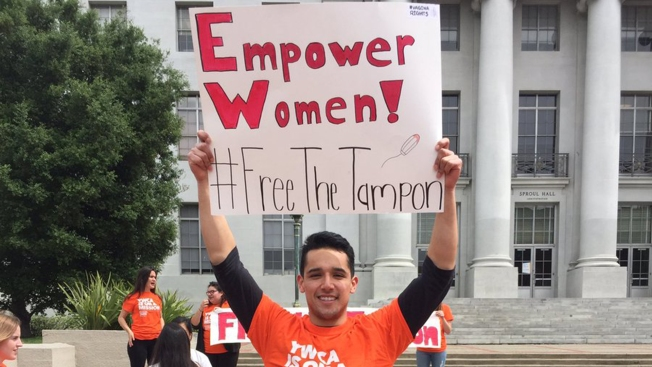 'Free the Tampon' Rally Highlights Need for Free Feminine Hygiene Products at UC Berkeley