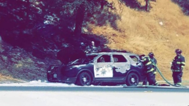 CHP Vehicle on Highway 24 Catches Fire
