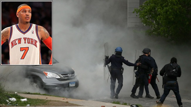 "Carmelo Anthony Tells Baltimore Protesters to ""Build up Our City"""