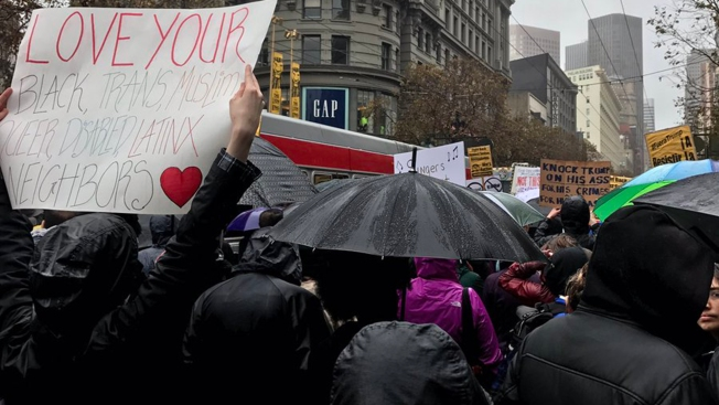 Hundreds Brave Damp San Francisco Weather to Oppose 'Racist, Sexist, Anti-Gay' Trump