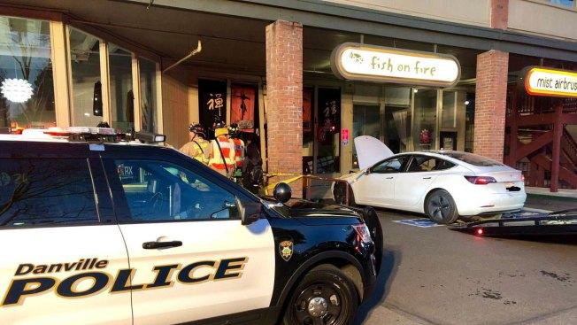 Tesla Crashes Into Sushi Restaurant in Danville