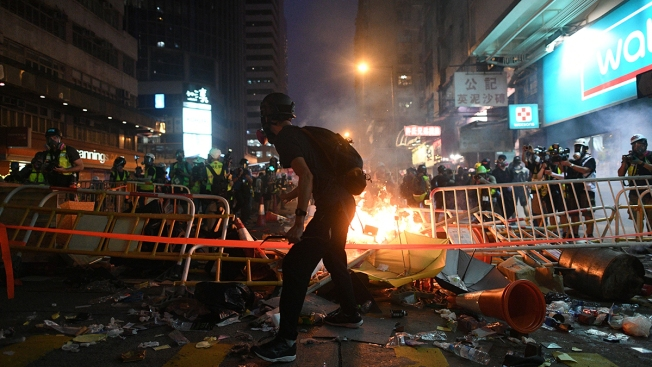 More Violence Grips Hong Kong Ahead of China's National Day