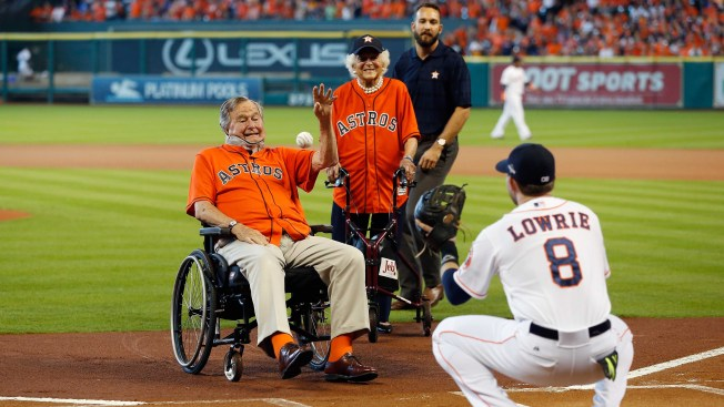 George H.W. Bush Tosses 1st Pitch in Neck Brace at Astros