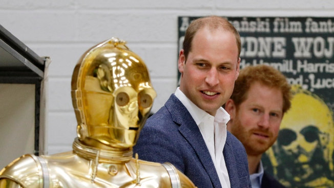 Prince William and Prince Harry Meet Luke Skywalker, Have a Lightsaber Battle, During 'Star Wars' Set Visit