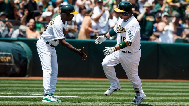 A's Score 12, Offense Breaks Out to Beat Tigers