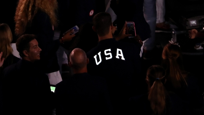 Michael Phelps Sports Light-Up Blazer in Opening Ceremony