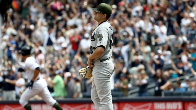 Judge Hits 1st Slam, Pineda And Yankees Beat Sloppy A's 9-5