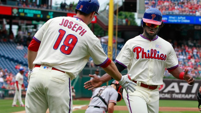 Phillies Homer Twice in Eighth, Outlast Giants