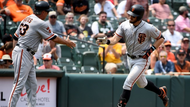 Crawford Hits 2 HRs to Help Giants Breeze Past Orioles 8-1
