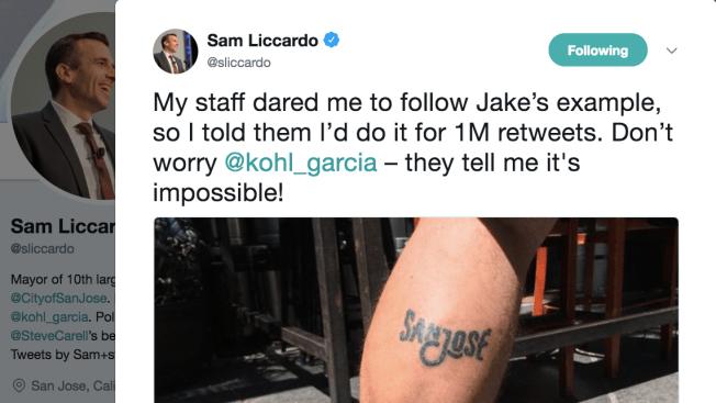 San Jose Mayor Sam Liccardo to Get City's Logo Tattooed if he gets 1 Million Retweets