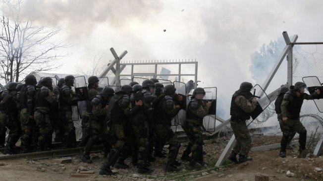 Macedonian Police Fire Tear Gas at Migrants