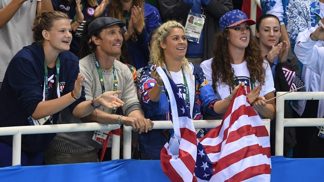 Matthew McConaughey Shows Team USA Pride at Rio Olympics