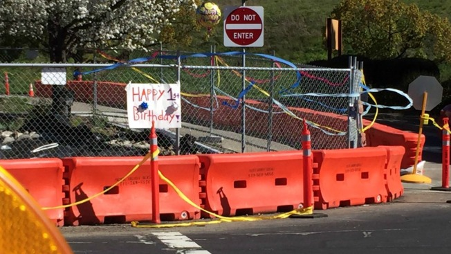 Happy Birthday, Moraga Sinkhole! Construction Site Covered with Festive Decorations