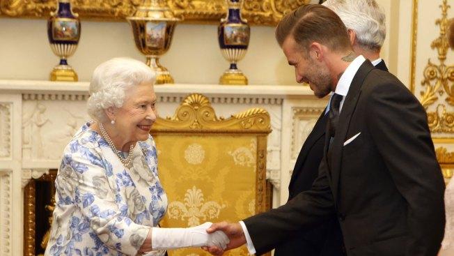 David Beckham, Queen Elizabeth II Have Royal Reunion at Buckingham Palace