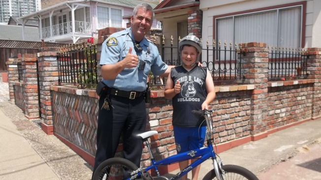 Member of South San Francisco Police Force Surprises Boy Who Had Bike Stolen