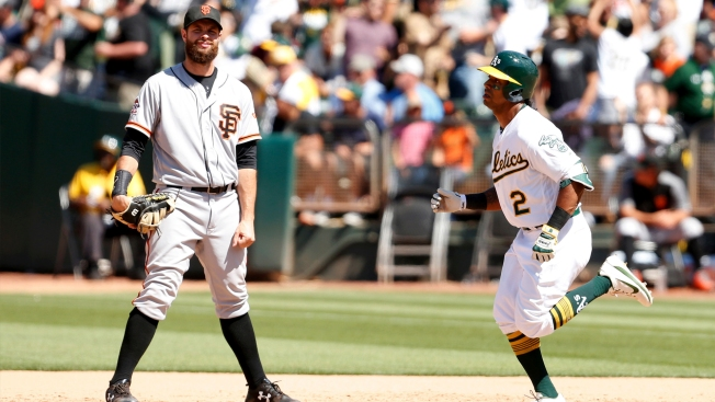 Giants Can't Complete Comeback Vs A's in Bay Bridge Series Finale