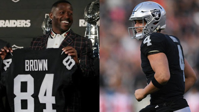 New Raiders WR Antonio Brown Makes 'Special Delivery,' Wants to Catch Rice