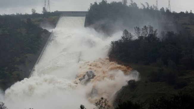 Water Flowing Over Emergency Spillway at Lake Oroville For