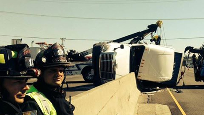 Big Rig Tips Over, Temporarily Shuts Down Highway 101