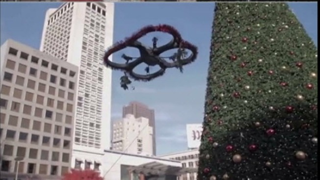 Drone Over Union Square Delivers Love for Holidays