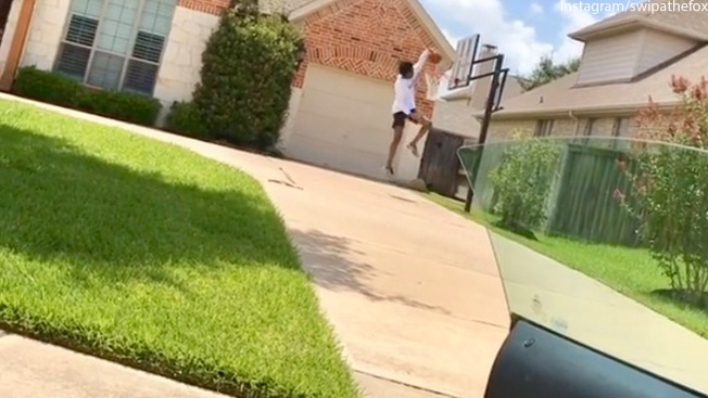 De'Aaron Throws Down for #DriveByDunkChallenge