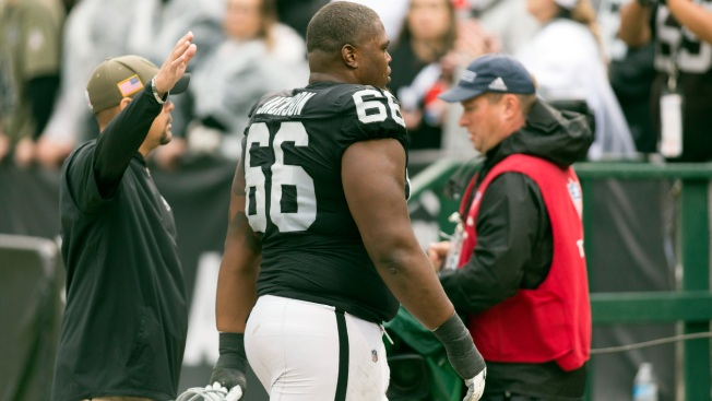 Raiders guard Gabe Jackson fined $30387 for contact with official vs. Broncos