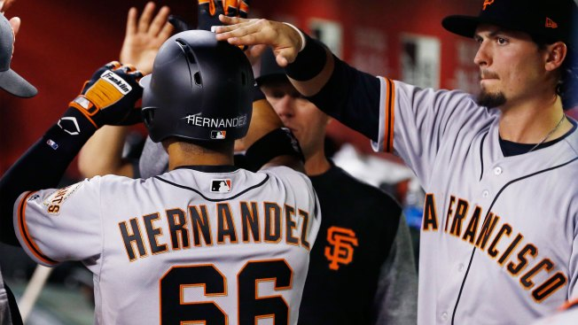 Hernandez Drives in Four, Giants Beat D'backs 8-4
