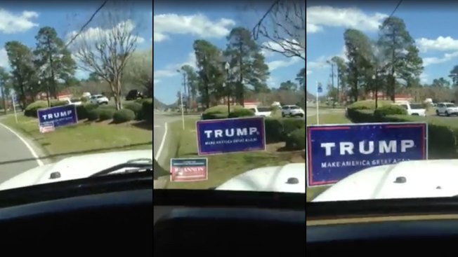 Car Plows Through Trump Campaign Sign in Viral Video