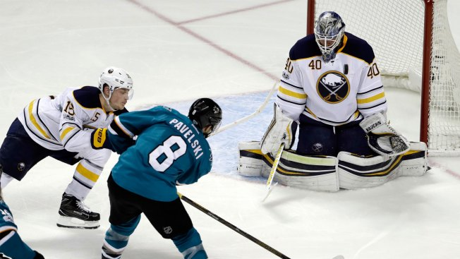 Sharks defeat Sabres for first victory