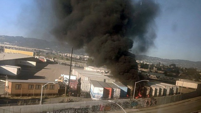 Four Shipping Containers Burn at Port of Oakland