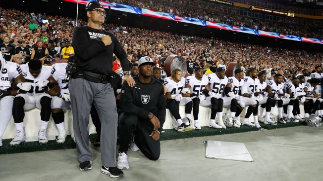Majority of Raiders Sit, Link Arms During Anthem in Response to Trump