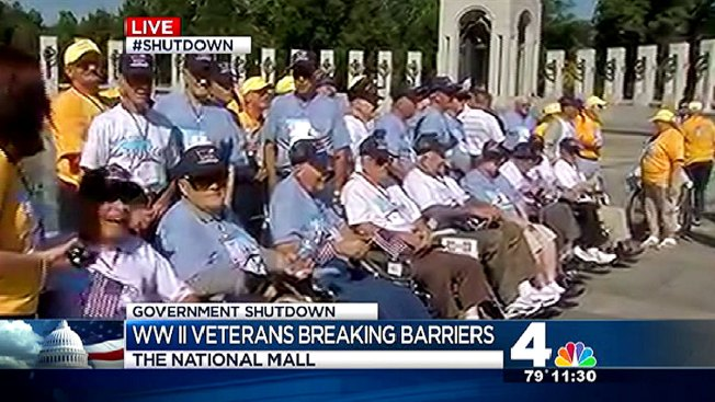 Congressmen Move Barrier Out of Vets' Way at Closed WWII Memorial