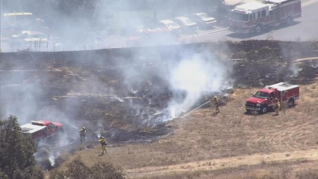 Firefighters Extinguish Brush Fires Near Interstate 280 in San Jose