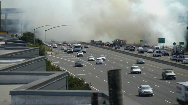Fire Scorches Brush Near Busy San Jose Interchange